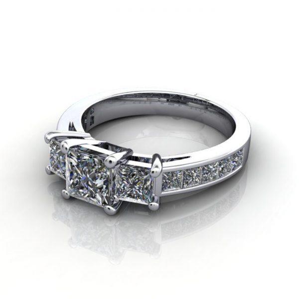 Trilogy Diamond Ring, RT6, White Gold, LF