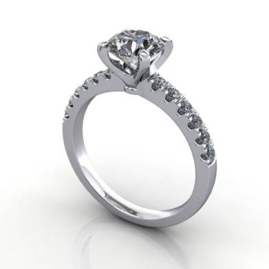 Engagement Ring, Platinum, Round Brilliant cut diamond, RSA4, 3D