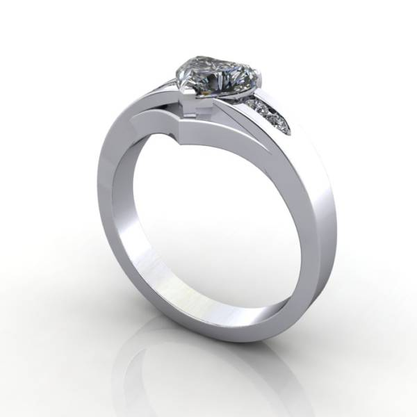 Engagement Ring, White Gold, Heart shape diamond, RSA5, 3D