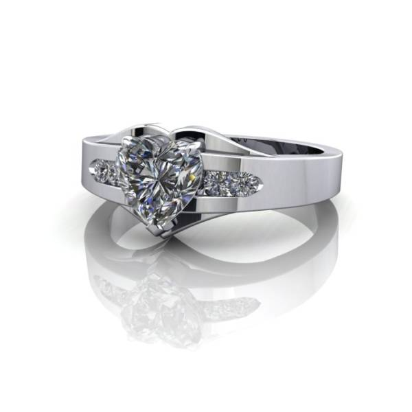 Engagement Ring, White Gold, Heart shape diamond, RSA5, LF