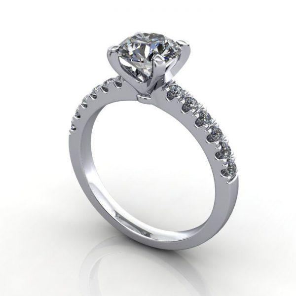 Engagement Ring, White Gold, Round Brilliant cut diamond, RSA4, 3D