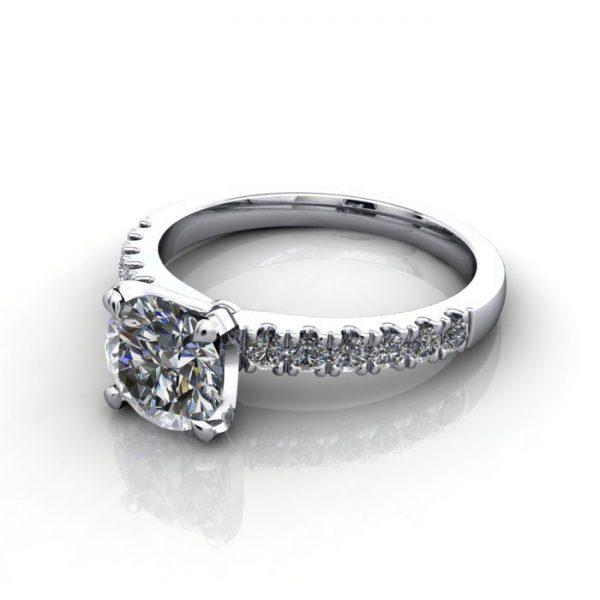 Engagement Ring, White Gold, Round Brilliant cut diamond, RSA4, LF