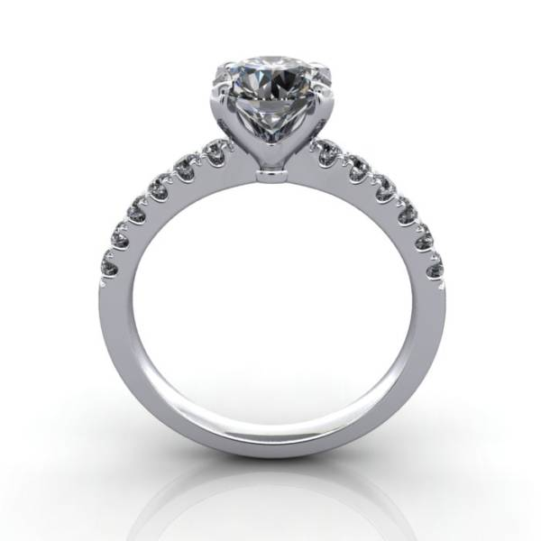 Engagement Ring, White Gold, Round Brilliant cut diamond, RSA4, TF