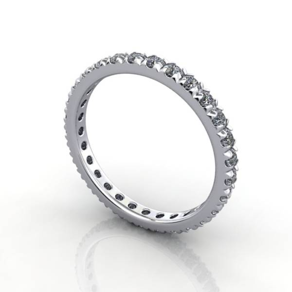Eternity Ring, RE2, White Gold, Round Brilliant Diamond, 3D