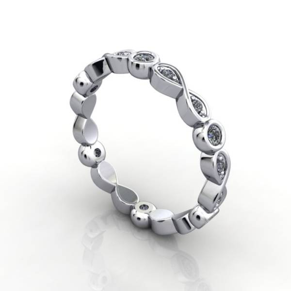 Eternity Ring, RE3, White Gold, Round Brilliant Diamond, 3D