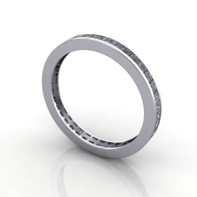 Eternity Ring, RE4, White Gold, Princess Cut Diamond, 3D