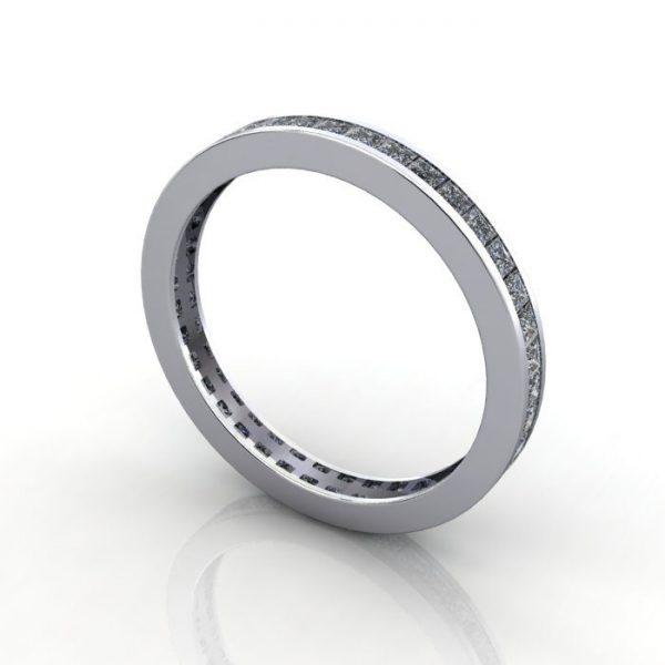 Eternity Ring, RE4, White Gold, Princess Cut Diamond, 3D