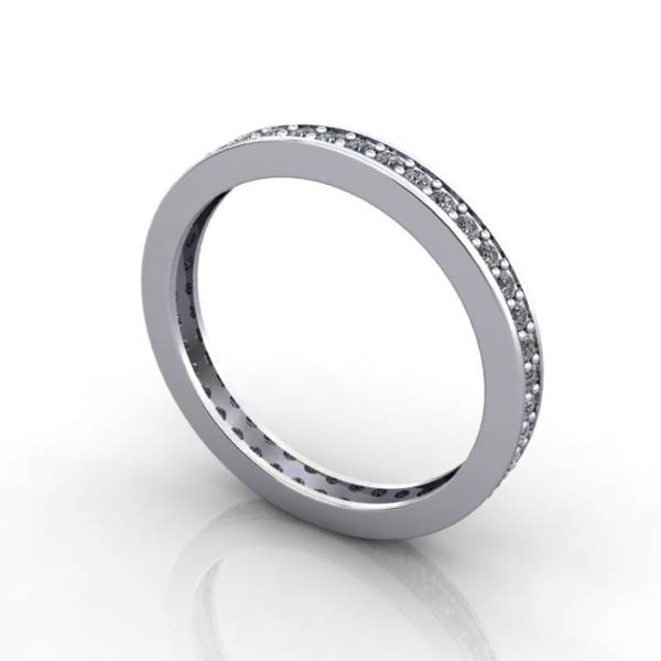 Eternity Ring, RE5, White Gold, Round Brilliant Diamond, 3D