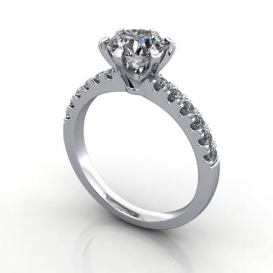 Solitaire with Accent Diamonds Engagement Ring, Platinum, Round Brilliant diamond, RSA6, 3D