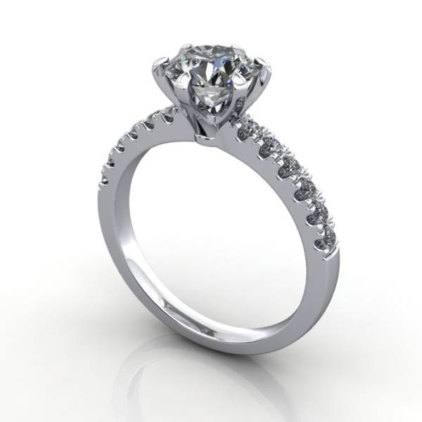 Solitaire with Accent Diamonds Engagement Ring, White Gold, Round Brilliant diamond, RSA6, 3D