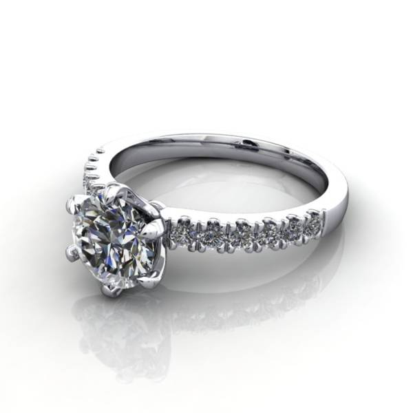 Solitaire with Accent Diamonds Engagement Ring, White Gold, Round Brilliant diamond, RSA6, LF