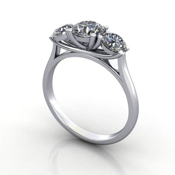 Trilogy Diamond Ring, Round Brilliant Diamond, RT13, White Gold, 3D