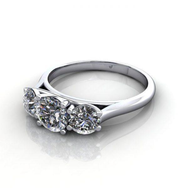 Trilogy Diamond Ring, Round Brilliant Diamond, RT13, White Gold, LF