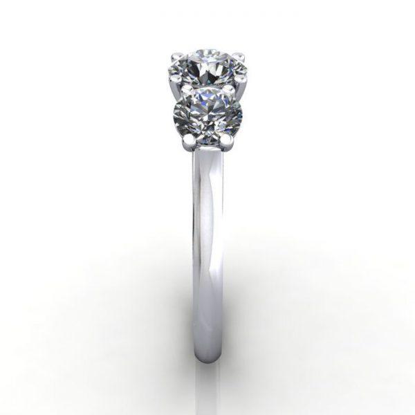 Trilogy Diamond Ring, Round Brilliant Diamond, RT13, White Gold, SV