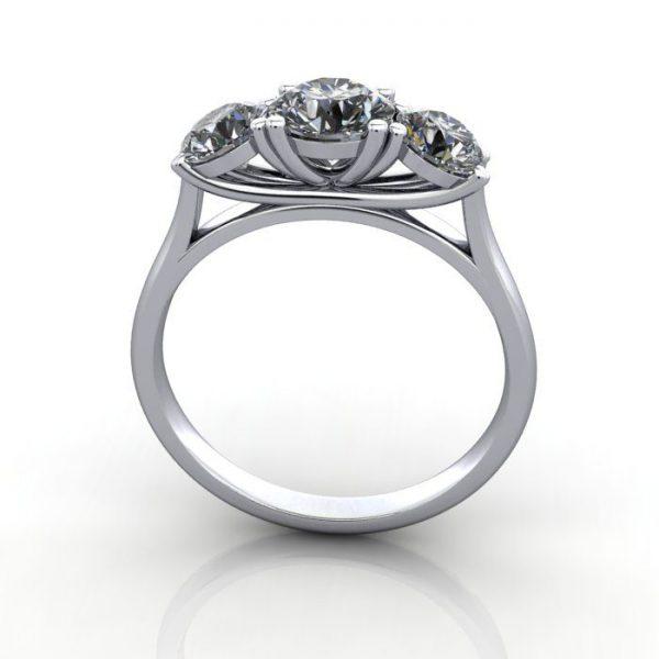 Trilogy Diamond Ring, Round Brilliant Diamond, RT13, White Gold, TF