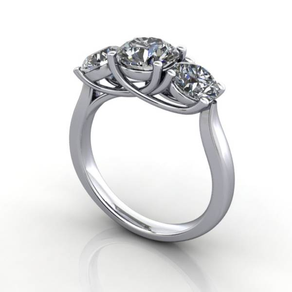 Trilogy Diamond Ring, Round Brilliant Diamond, RT9, White Gold, 3D