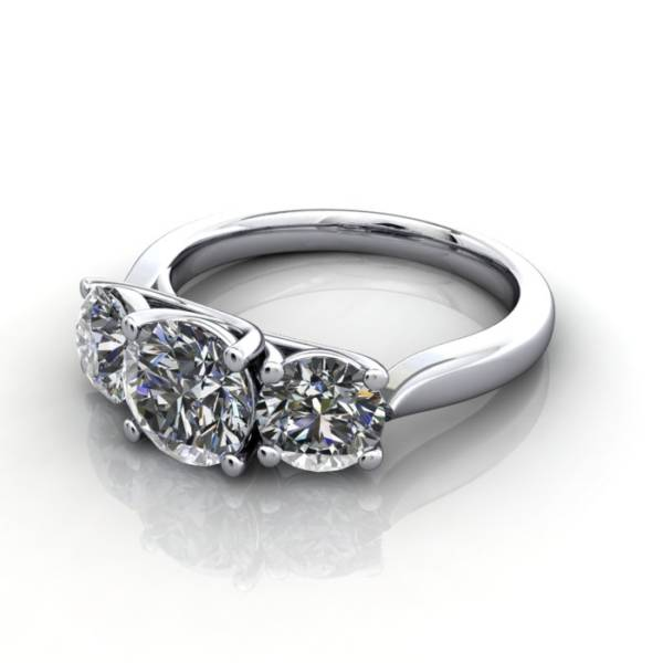 Trilogy Diamond Ring, Round Brilliant Diamond, RT9, White Gold, LF