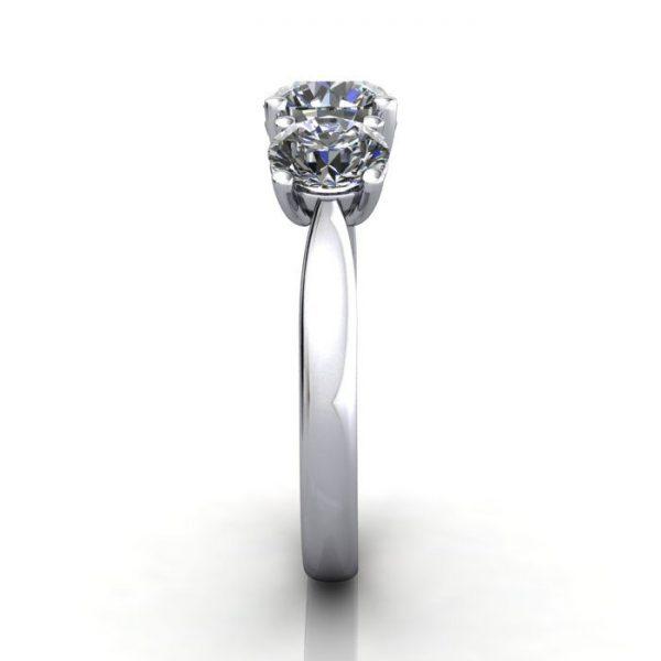 Trilogy Diamond Ring, Round Brilliant Diamond, RT9, White Gold, SV
