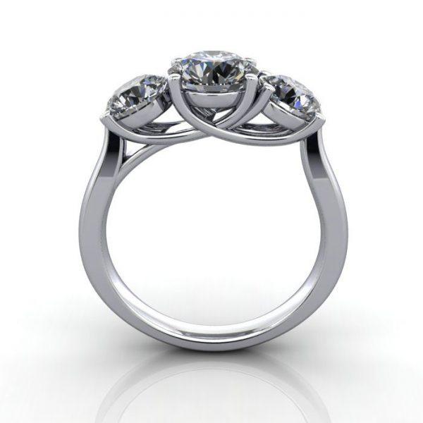 Trilogy Diamond Ring, Round Brilliant Diamond, RT9, White Gold, TF