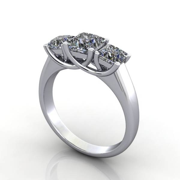 Trilogy Diamond Ring, Princess Cut Diamond, RT15, White Gold, 3D