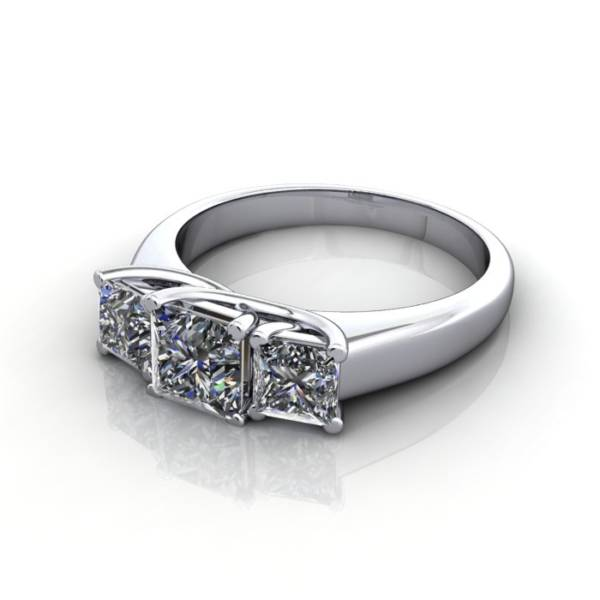 Trilogy Diamond Ring, Princess Cut Diamond, RT15, White Gold, LF