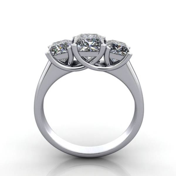 Trilogy Diamond Ring, Princess Cut Diamond, RT15, White Gold, TF