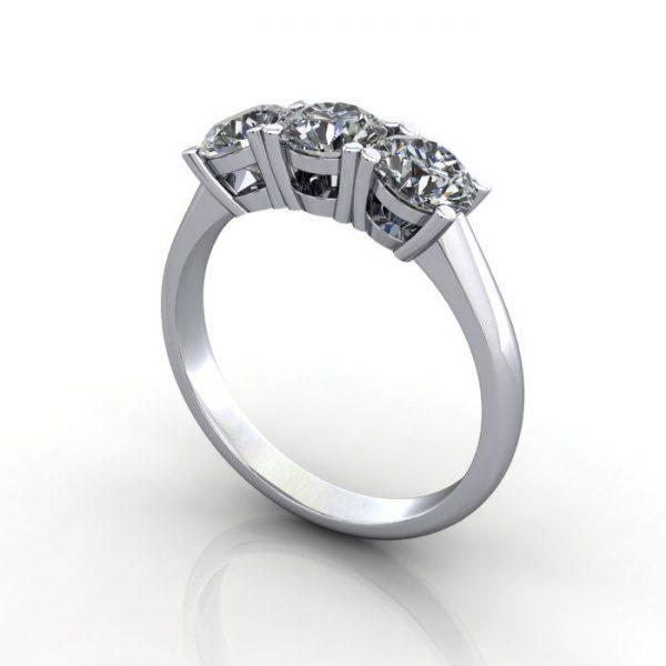 Trilogy Diamond Ring, Round Brilliant Diamond, RT14, White Gold, 3D
