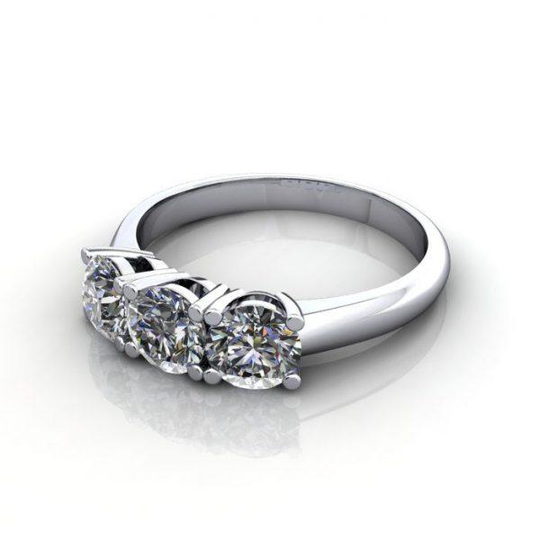 Trilogy Diamond Ring, Round Brilliant Diamond, RT14, White Gold, LF