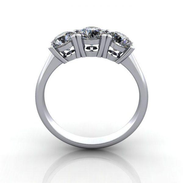 Trilogy Diamond Ring, Round Brilliant Diamond, RT14, White Gold, TF