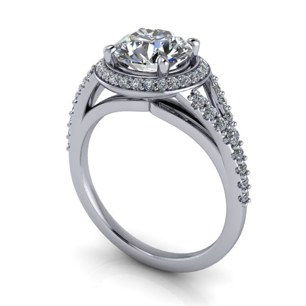 Halo Diamond Ring, RH3, White Gold, Round Brilliant, 3D