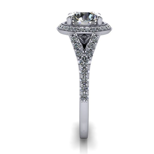Halo Diamond Ring, RH3, White Gold, Round Brilliant, SV