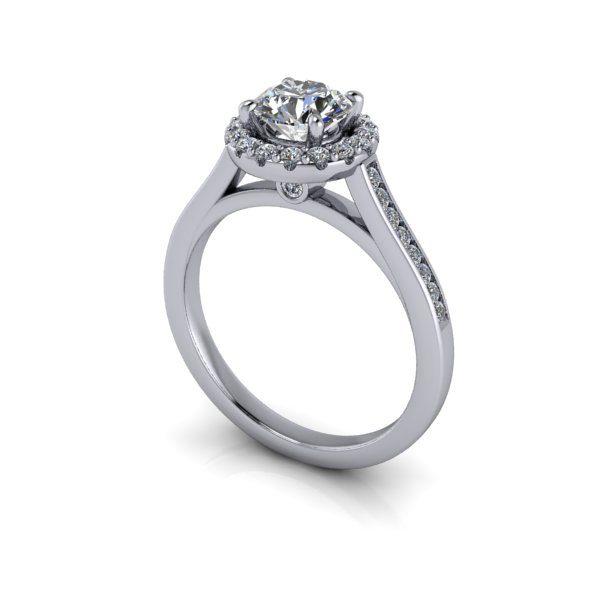 Halo Diamond Ring, RH4, White Gold, Round Brilliant, 3D
