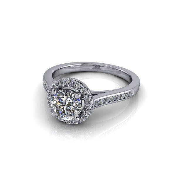 Halo Diamond Ring, RH4, White Gold, Round Brilliant, LF