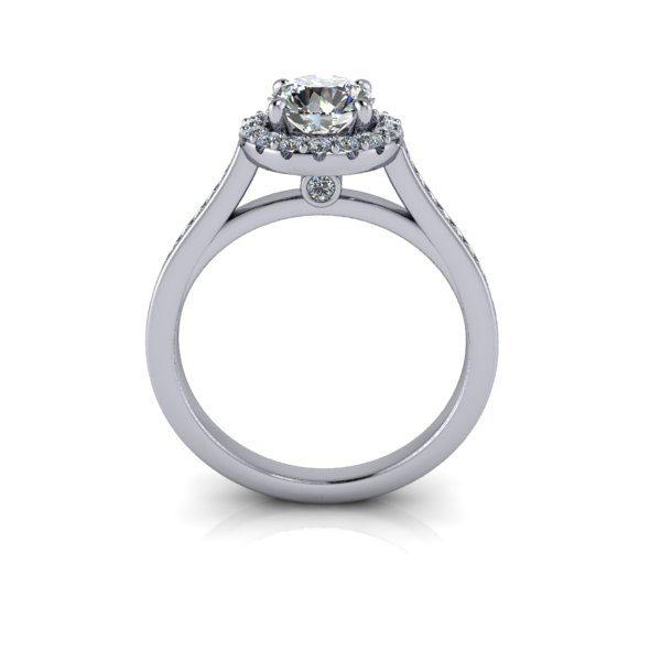 Halo Diamond Ring, RH4, White Gold, Round Brilliant, TF