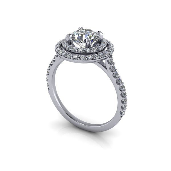Halo Diamond Ring, RH5, White Gold, Round Brilliant, 3D