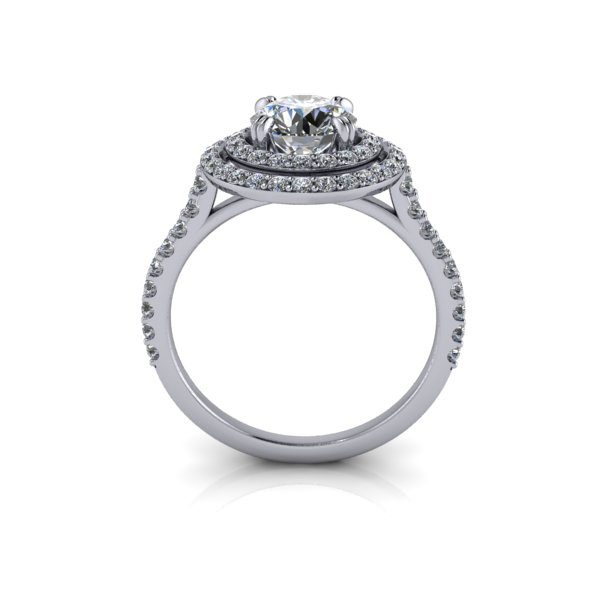 Halo Diamond Ring, RH5, White Gold, Round Brilliant, TF