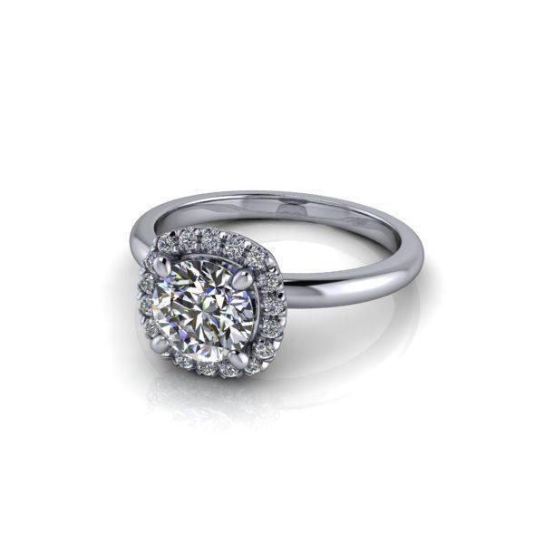 Halo Diamond Ring, RH6, Platinum, Round Brilliant, LF