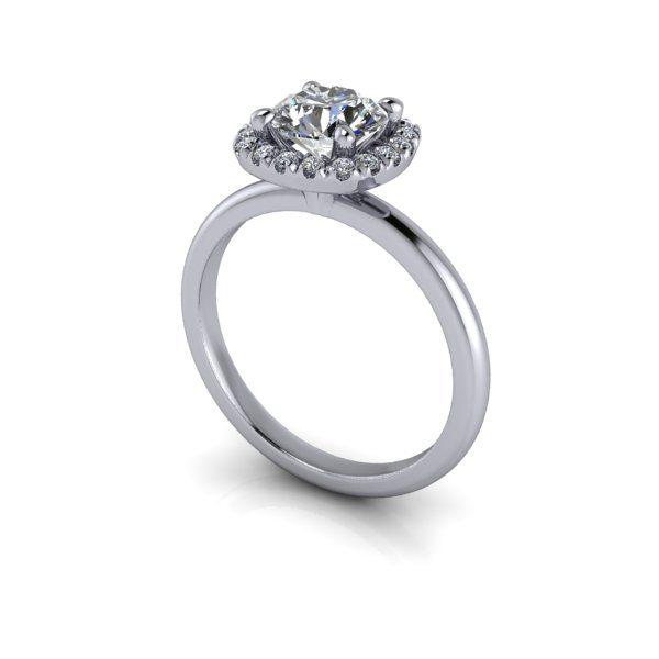 Halo Diamond Ring, RH6, White Gold, Round Brilliant, 3D