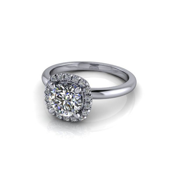 Halo Diamond Ring, RH6, White Gold, Round Brilliant, LF