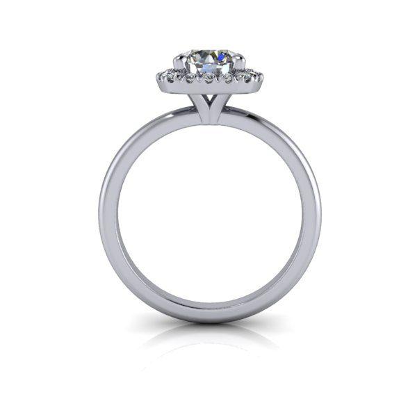 Halo Diamond Ring, RH6, White Gold, Round Brilliant, TF