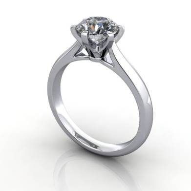 Solitaire Engagement Ring, Round Brilliant Diamond, RS21, Platinum, 3D
