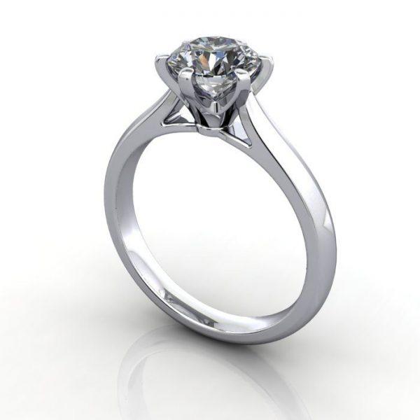 Solitaire Engagement Ring, Round Brilliant Diamond, RS21, Platinum, 3D