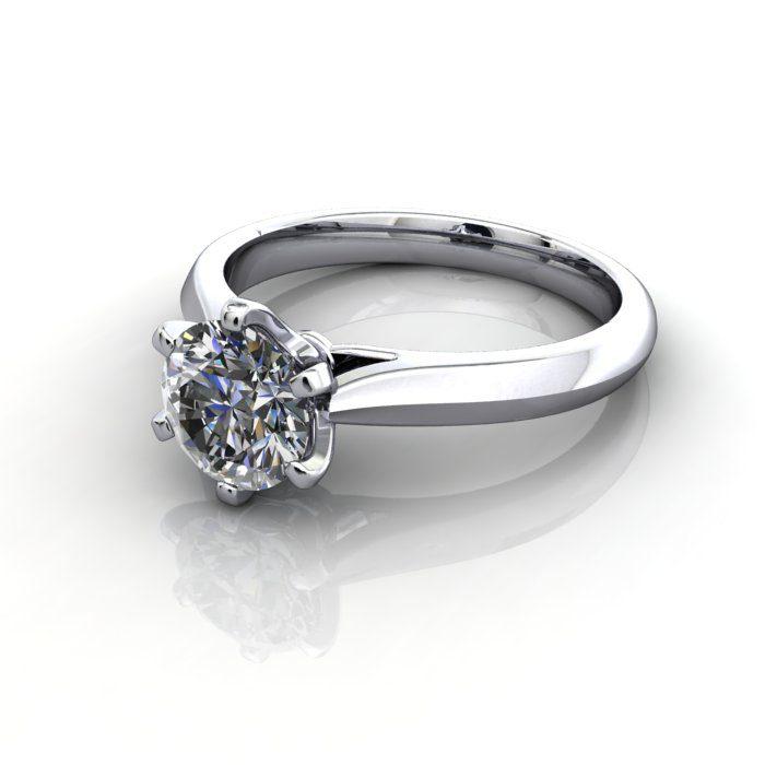Solitaire Engagement Ring, Round Brilliant Diamond, RS21, Platinum, LF