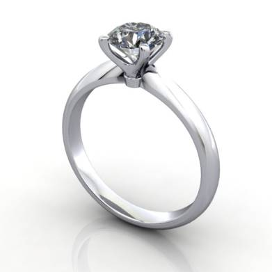 Solitaire Engagement Ring, Round Brilliant Diamond, RS22, Platinum, 3D