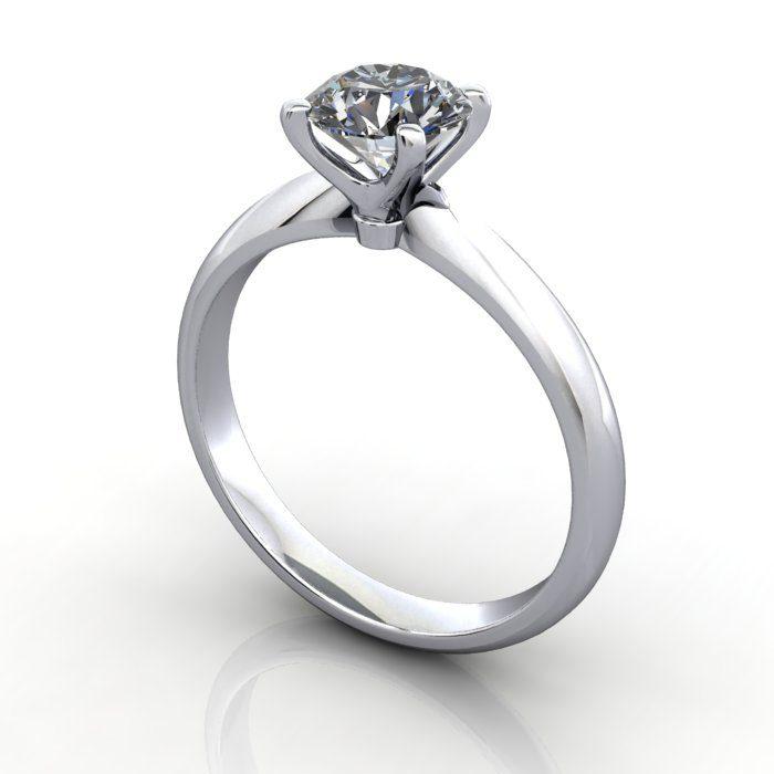 Solitaire Engagement Ring, Round Brilliant Diamond, RS22, Platinum, 3D