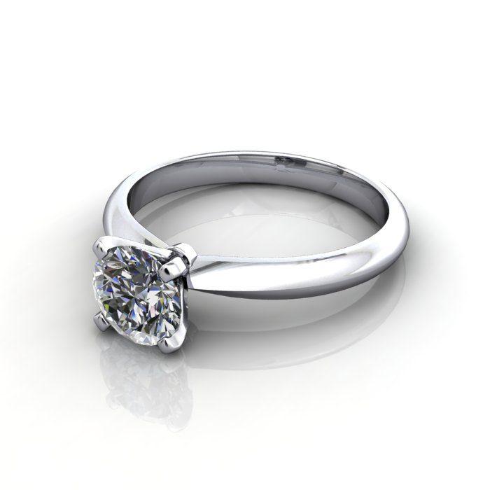 Solitaire Engagement Ring, Round Brilliant Diamond, RS22, Platinum, LF