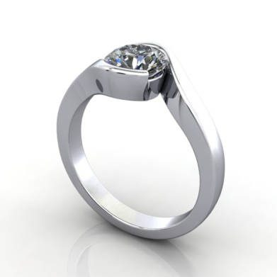 Solitaire Engagement Ring Round Brilliant Diamond, RS24, Platinum, 3D