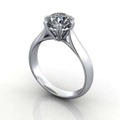 Solitaire Engagement Ring, Round Brilliant Diamond, RS25, Platinum, 3D