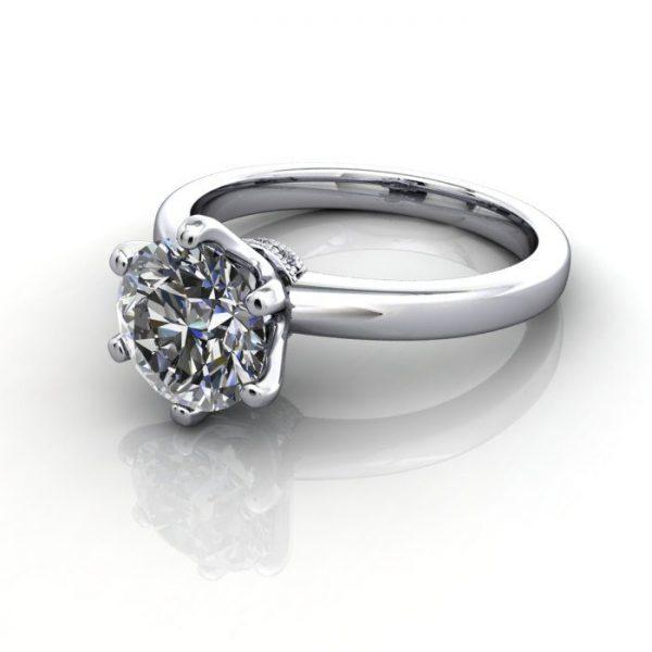 Solitaire Engagement Ring, Round Brilliant Diamond, RS26, Platinum, LF