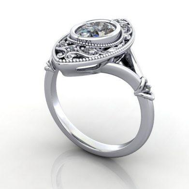 Vintage Ring, Oval, Platinum, RV5, 3D